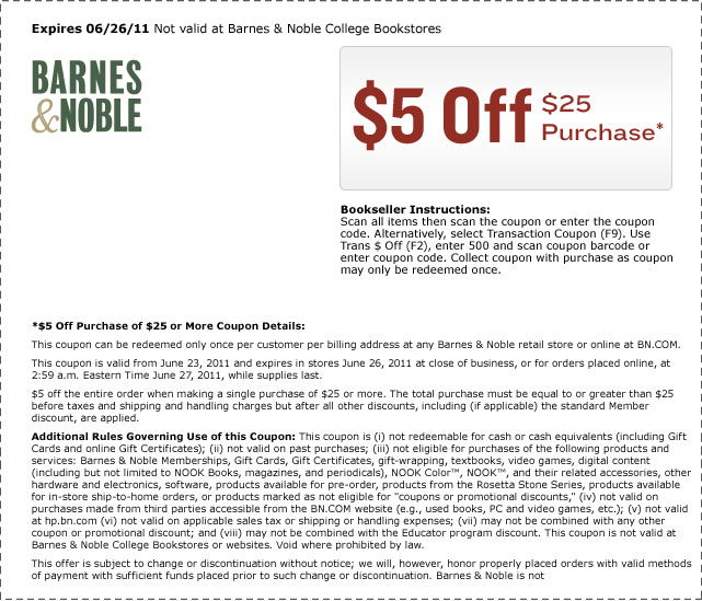 picture relating to Barnes and Noble Printable Coupon titled Barnes Noble: $5 Off $25 Buy - Qpon Junkie