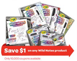 $1 off any Crayola Wild Notes Product