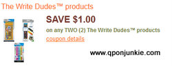 $1.00 off two The Write Dudes products