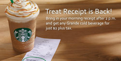 Starbucks Treat Receipt $2 Drinks