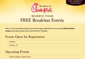 Chick-fil-A Free Breakfast Entree