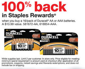 Free Stuff Staples Duracell Batteries