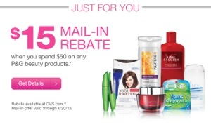 Ending Soon! Beauty Product Rebate P&G $15 wyb $50
