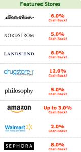 Ebates Featured Stores List