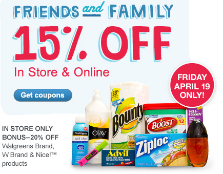 15% Off Walgreens Friends and Family Coupon (today only)