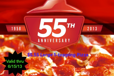 Pizza Hut Large Pizza for $5.55 thru 6/15
