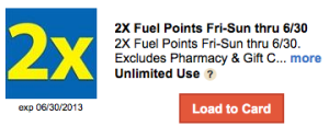 Earn Double Fuel Points Weekends at Kroger