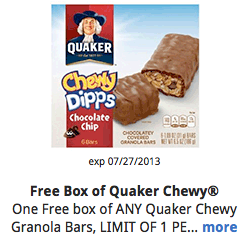 Free Quaker Chewy Bars