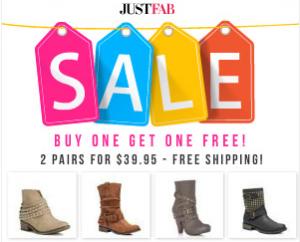 JustFab BOGO Boot Sale
