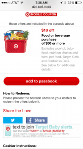 Target $10 off $50