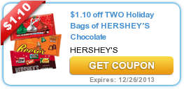 $1.10 off TWO Holiday Bags of HERSHEY'S Chocolate
