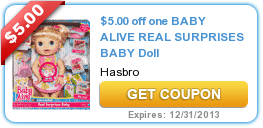 $5.00 off one BABY ALIVE REAL SURPRISES BABY Doll