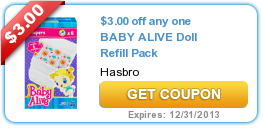 $3.00 off any one BABY ALIVE Doll Refill Pack