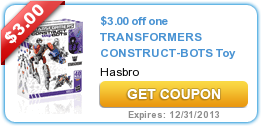 $3.00 off one TRANSFORMERS CONSTRUCT-BOTS Toy