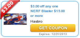 $3.00 off any one NERF Blaster $15.00 or more
