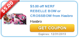 $5.00 off NERF REBELLE BOW or CROSSBOW from Hasbro