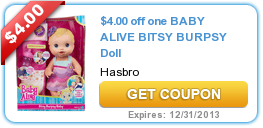 $4.00 off one BABY ALIVE BITSY BURPSY Doll