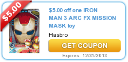 $5.00 off one IRON MAN 3 ARC FX MISSION MASK toy