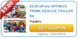 $5.00 off one OPTIMUS PRIME RESCUE TRAILER toy