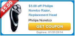 $5.00 off Philips Norelco Razor, Replacement Head