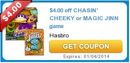 $4.00 off CHASIN' CHEEKY or MAGIC JINN game