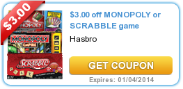 $3.00 off MONOPOLY or SCRABBLE game