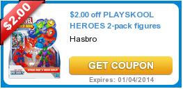 $2.00 off PLAYSKOOL HEROES 2-pack figures
