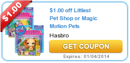 Christmas Coupons $1.00 off Littlest Pet Shop or Magic Motion Pets