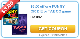 $3.00 off one FUNNY OR DIE or TABOO game