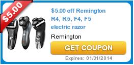 $5.00 off Remington R4, R5, F4, F5 electric razor