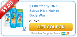 Free printable coupons $1.00 off any ONE Suave Kids Hair or Body Wash