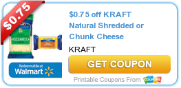 $0.75 off KRAFT Natural Shredded or Chunk Cheese