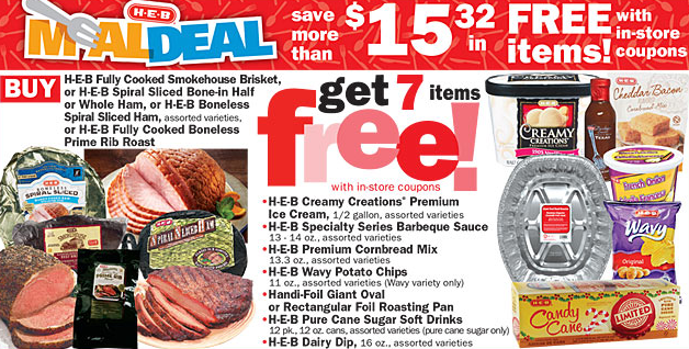 This week's H-E-B Meal Deal: Buy two Ground Sirloin rolls OR H-E-B Fully Cooked® Ground Beef, 11 oz. - get 5 items free with in-store coupons!