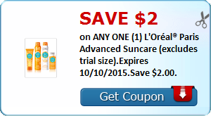 Save $2.00 on ANY ONE (1) L'Oréal® Paris Advanced Suncare (excludes trial size).Expires 10/10/2015.Save $2.00.