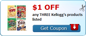 $1.00 off any THREE Kellogg's products listed