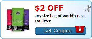 $2.00 off any size bag of World's Best Cat Litter
