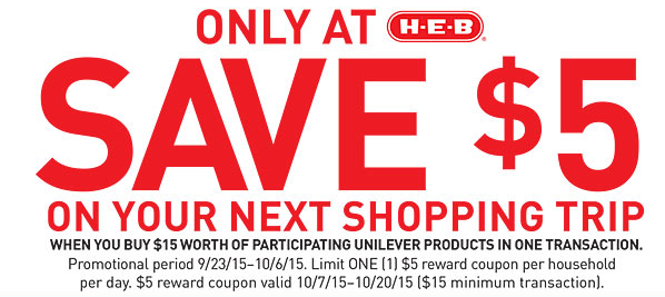 image relating to Unilever Printable Coupons known as HEB Weekly Grocery Bargains Discount coupons 9/23 - 9/29 - Qpon Junkie